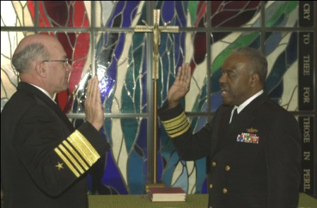Vice Admiral David Brewer II being sworn in