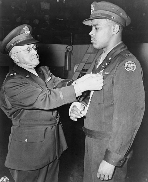 Captain Charles L Thomas being award the Distinguished Service Cross. He was awarded the Medal of honor posthumously on January 13, 1997