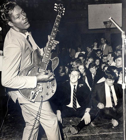 African American Chuck Berry rocking and rolling