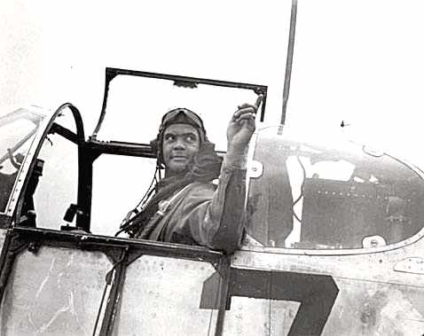 Then Colonial Benjamin Davis Jr. flying during World War II for the US Air Force