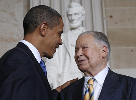 Edward brooke receiving the gold medal honor by President Obama