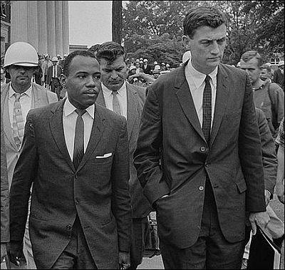 James Meredith being escorted into Ole Miss as the first black student ever