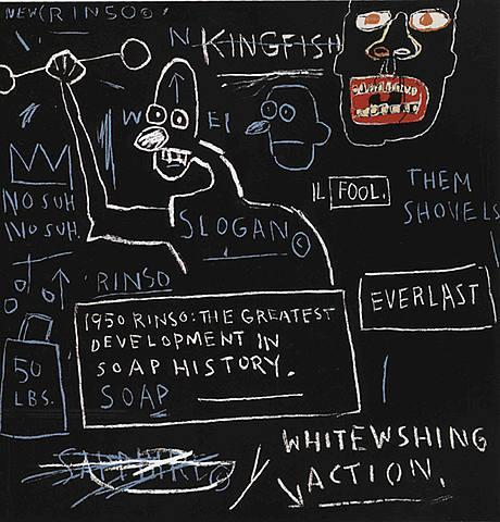 graffiti syle artwork by African American artist Jean Michel Basquiat