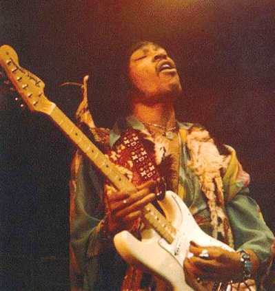 Jimi Hendrix and his fender guitar