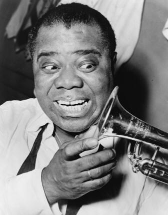 African American jazz legend Louis Armstrong
