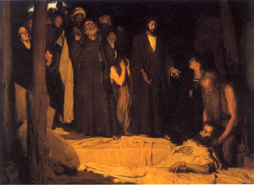 """The Resurrection of Lazarus"" painting by Henry Tanner"