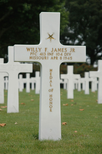 gravesite of Private First Class Willy James medal of Honor award winner in World War II