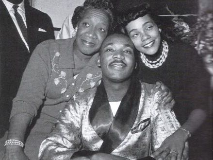 Coretta Scott King Martin Luther King Jr. and Martins mother after he had been stabbed at a book signing