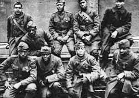 photo of the 369th regement also known as the Harlem Hellfighters, an all black group of soldiers in World War I