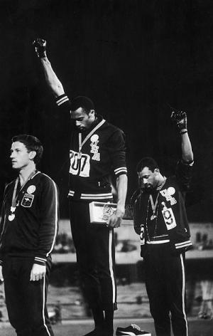 John Carlos and Tommie Smith making a statement for black power at the 1968 olympics in Mexico City