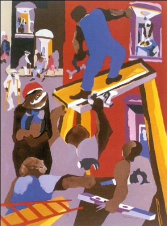 "Jacob Lawrence artwork ""Man on a Scafdfold"""