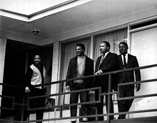 Martin Luther King jr. at memphis Tennesssee shortly before his assination