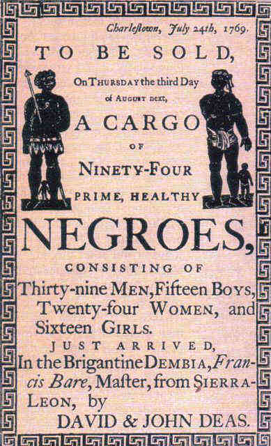 poster announcing arrival and sale of new slaves in America